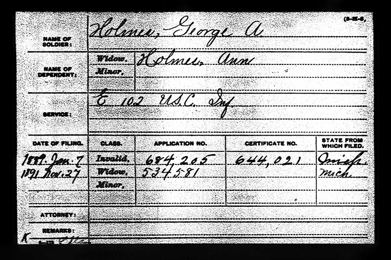 George A Holmes USCT Military Paper Elmwood web