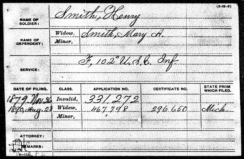 Henry Smith USCT Military Paper Elmwood web