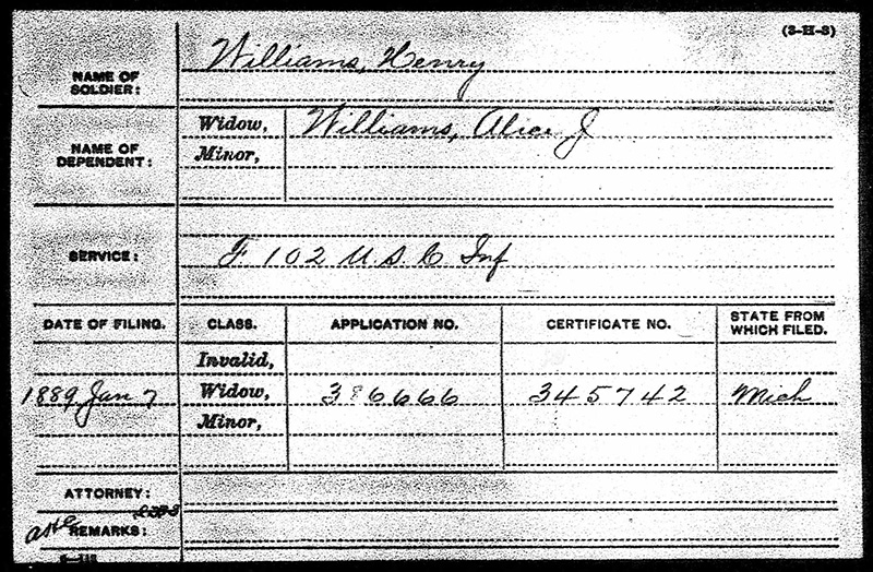 Henry Williams USCT Military Paper Elmwood web